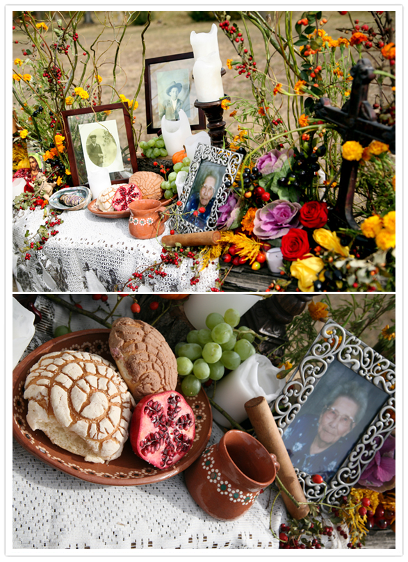 Day of the Dead Altar ofrenda with candles food photos
