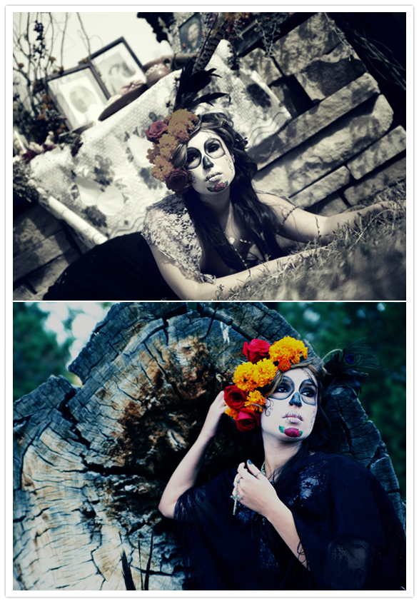 lifestyle images of model dressed like a catrina for dia de los muertos