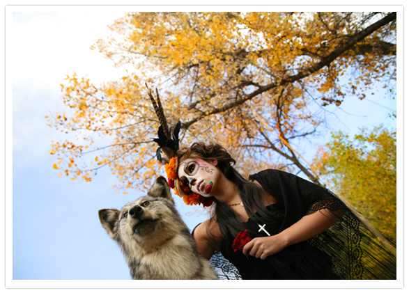 Day of the Dead sugar skull makeup and wolf