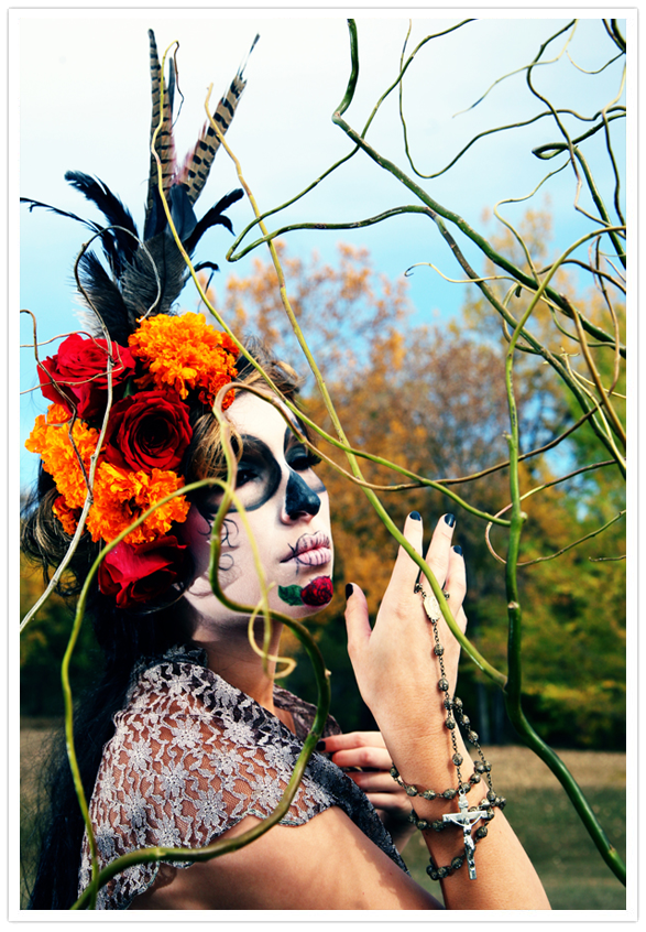 Day of the Dead sugar skull makeup with marigolds