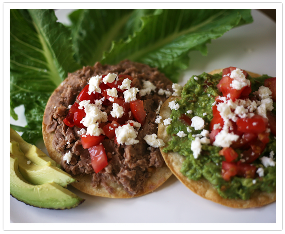 Muy Bueno Cookbook » Refried Bean and Guacamole Tostadas