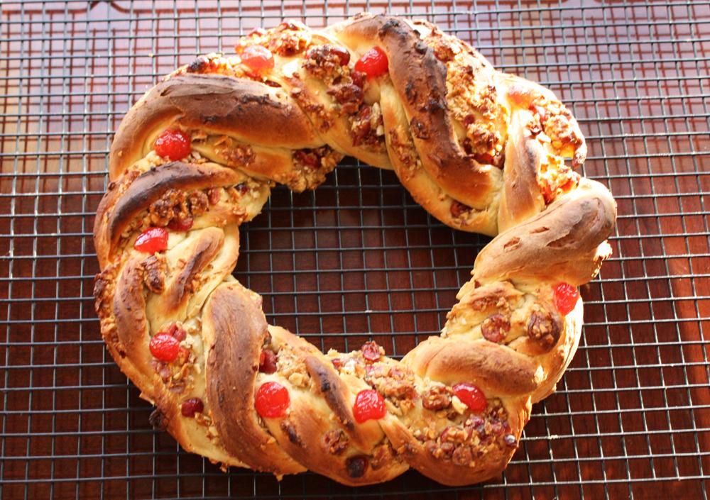 baked Rosca de Reyes on a cooling rack